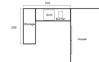 Built-in outdoor kitchen - drawing
